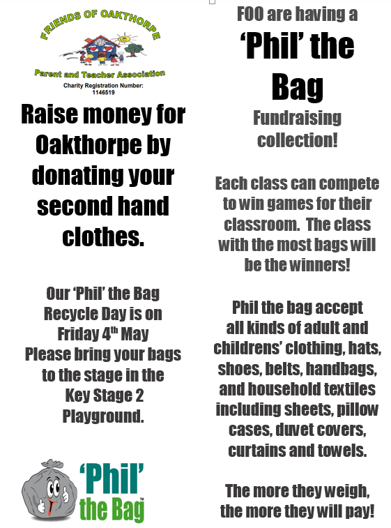 c0137b257ad Here is our flyer for the Phil the Bag event which is happening on the 4th  May. Please bring your bags to the KS2 playground.